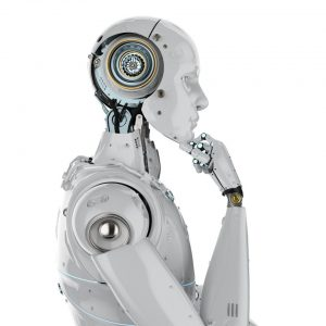 """Robot looking like it's pondering, """"What were the technology trends of the last decade?"""""""